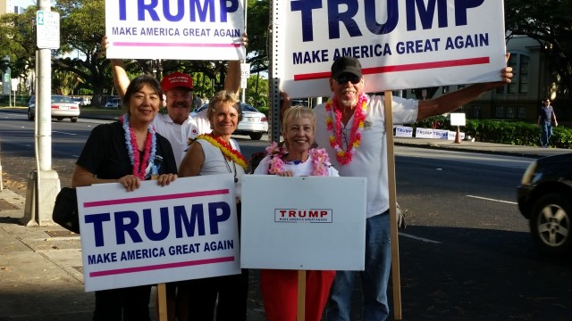 Hawaii's GOP voters easily handed Trump a victory in the state's presidential caucus.