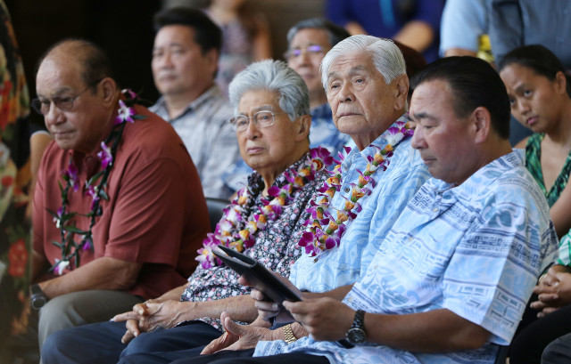 Governor George Ariyoshi and Senator Akaka sit before Fishing Means Food rally held at the Capitol Rotunda. 26 july 2016