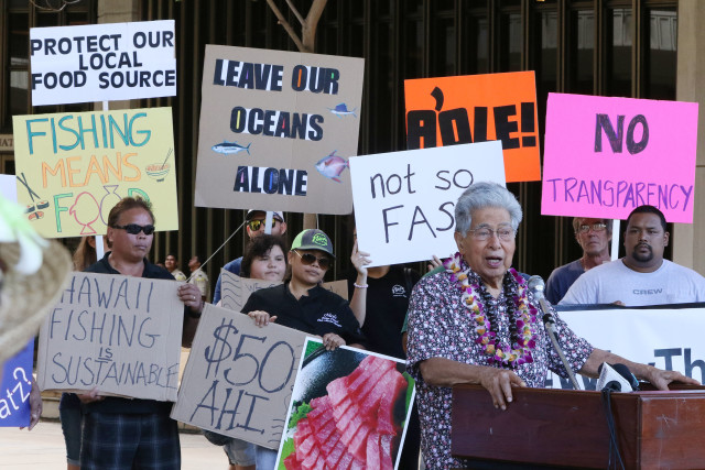 Senator Dan Akaka speaks during Fishing Means Food rally held at the Capitol Rotunda. 26 july 2016