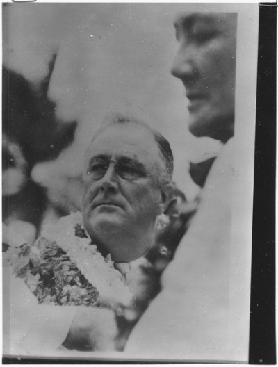 President Franklin D. Roosevelt toured Hawaii for a few days in 1934 in part to check on a growing military presence.