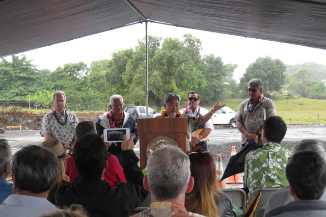 "Hawaii County Councilman Dennis ""Fresh"" Onishi speaks during a ground-breaking ceremony for the new Haihai Fire Station."