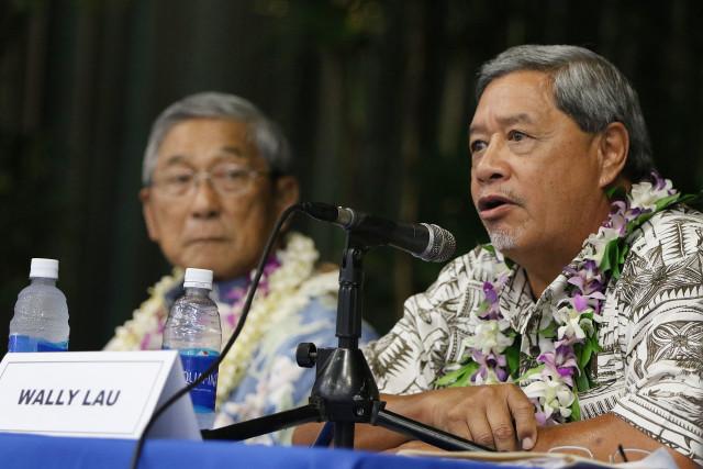 Hawaii Island Mayor forum Wally Lau speak. 14 july 2016