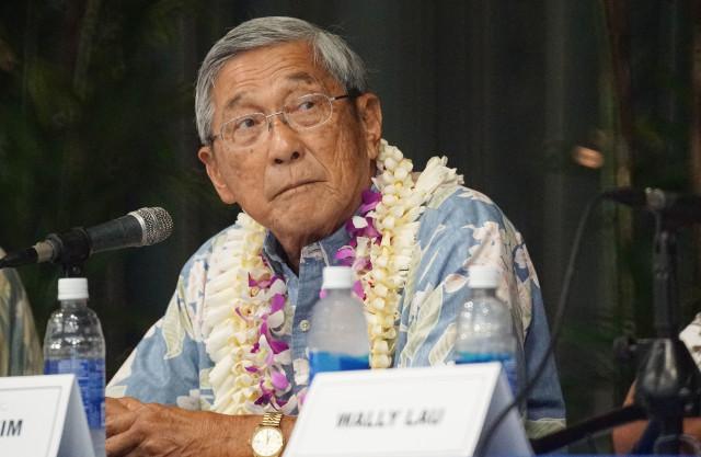 Hawaii island Mayoral Forum Harry Kim at Sangha Hall, Hilo, Hawaii. 14 july 2016