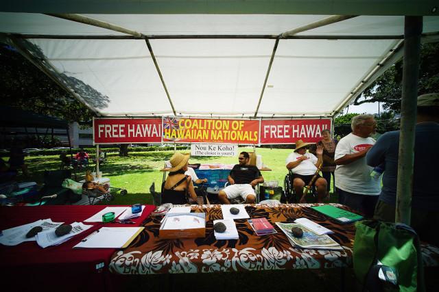 La Hoihoi Ea festival Thomas Square (Hawaiian flag day) with Coalitiion of Hawaiian Nationals tent. 30 july 2016