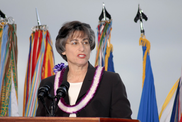 Gov. Linda Lingle, speaking here at Pearl Harbor in 2006, battled Hawaiian Electric over energy reform for most of her two terms in office.
