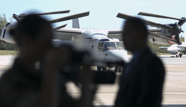 MV22 Osprey sits at Marine Corps Base Hawaii at new hangar opening ceremonies. 19 july 2016