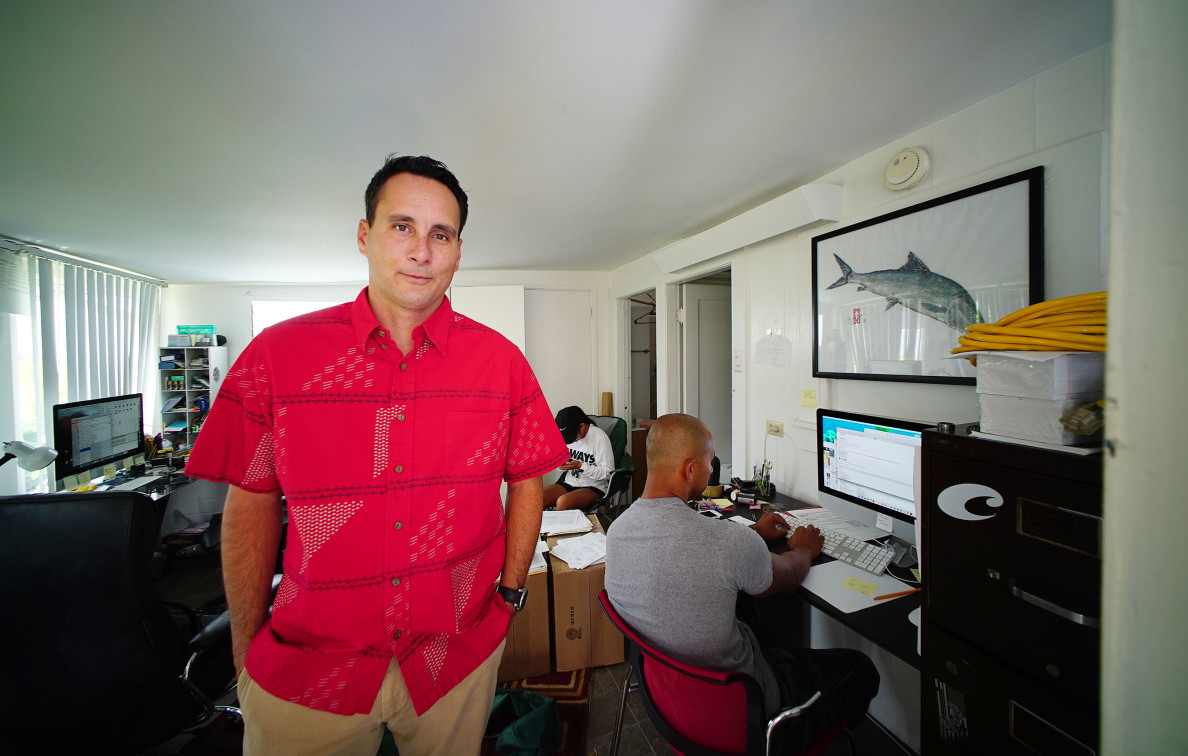 Makani Christensen portrait in his office in Manoa. 21 july 2016