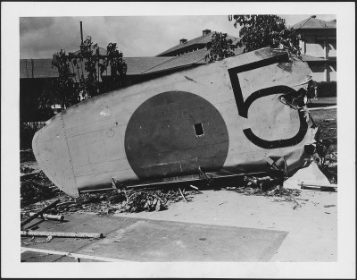 The wing from a Japanese bomber shot down on Dec. 7, 1941, came to rest on the grounds of the Naval Hospital in Honolulu.
