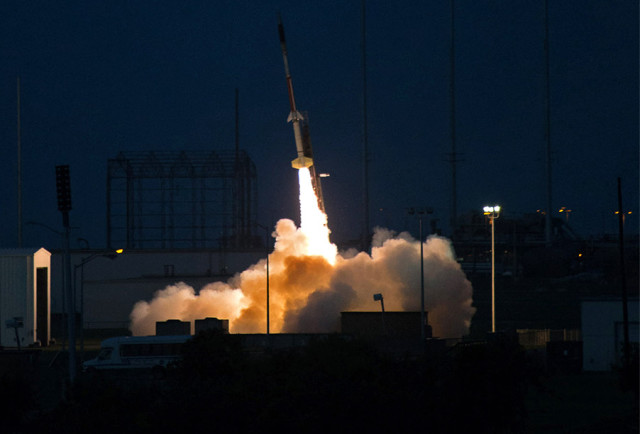 A Terrier-Improved Malemute sounding rocket is launched at NASA's Wallops Flight Facility in Virginia, carrying the first set of experiments for Project Imua, in 2015.