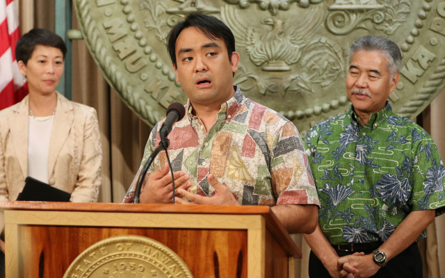 Scott Morishige homeless presser with Governor Ige and Director of Dept of Human Services on $12 million dollars to fund homeless issues. 21 july 2016
