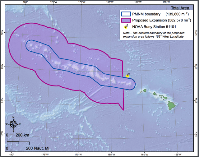 This map shows the expansion area around the Northwestern Hawaiian Islands.