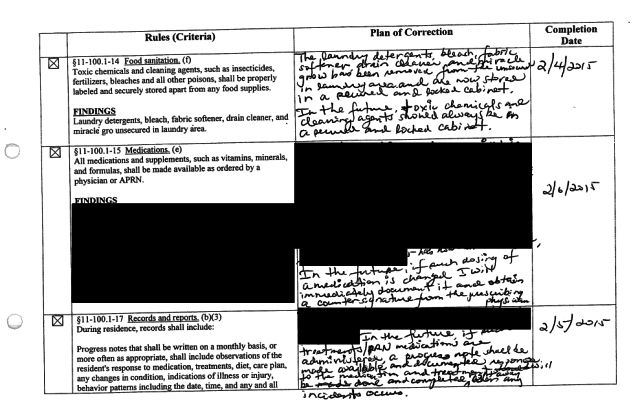 This redacted inspection report from last year is for Dolores Bautista's adult residential care home in Honolulu.