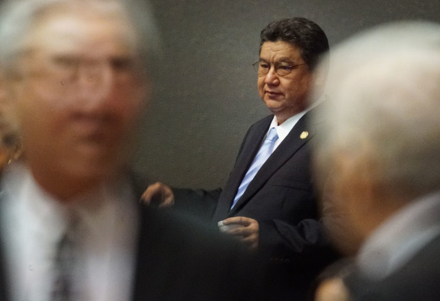 Senate President Ron Kouchi during recess after special session. 12 july 2016