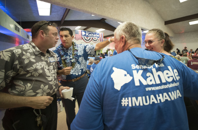 Senator Kai Kahele speaks to supporters in Hilo, Hawaii. 14 july 2016