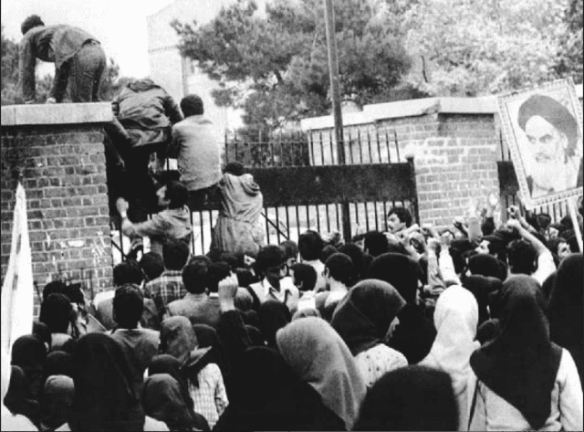 Iranian students break into the U.S. Embassy in Iran to take it over.