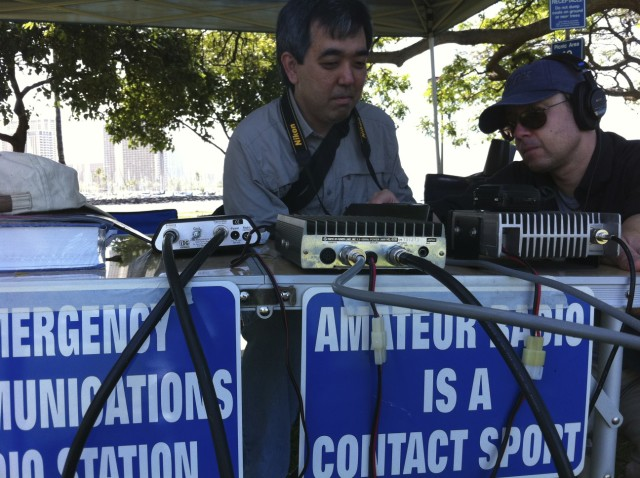 Ham radio operators contact each other around the world during contests to see which stations can reach the furthest or the most people.