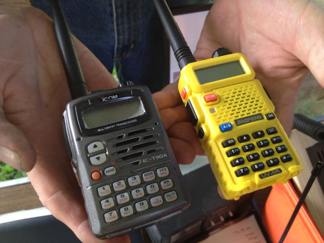 Ham radio equipment includes compact handheld transceivers that can range in price from several hundred dollars to less than $50.
