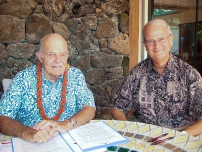 Dudley Pratt Jr., left, earned his MBA from the University of Hawaii business school. In 2010 he established a scholarship fund and sat for this photo with business school dean, V. Vance Roley.