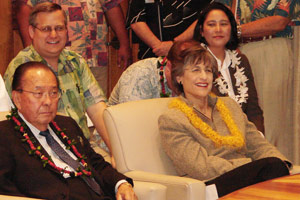 Hawaii Sen. Dan Inouye showed up in Gov. Linda Lingle's office to witness the signing of the Hawaii Clean Energy Initiative agreement in October 2008.