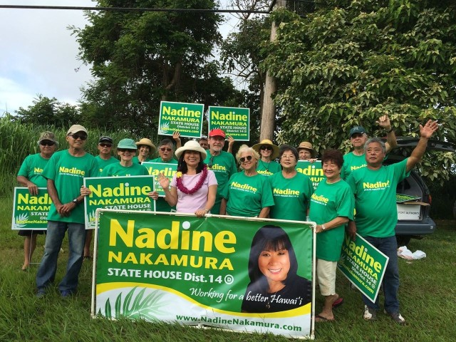 Nadine Nakamura, seen here campaigning in Kilauea, is running for state House.