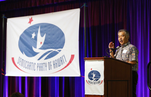 Governor David Ige speaks at the Democratic Party Unity breakfast held at the Dole Cannery ballroom. 14 aug 2016