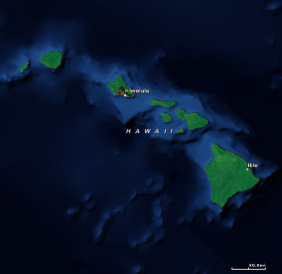 Hawaii's Congressional District 2, seen here in green, includes the neighbor islands and rural Oahu.