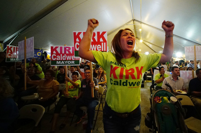 Kirsty Agbayani (CQ) jubilates as 2nd printout is announced at Mayor Caldwell's Headquarters. 13 aug 2016