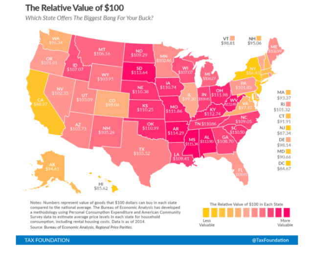 Tax Foundation map on how much $100 is worth in 2014