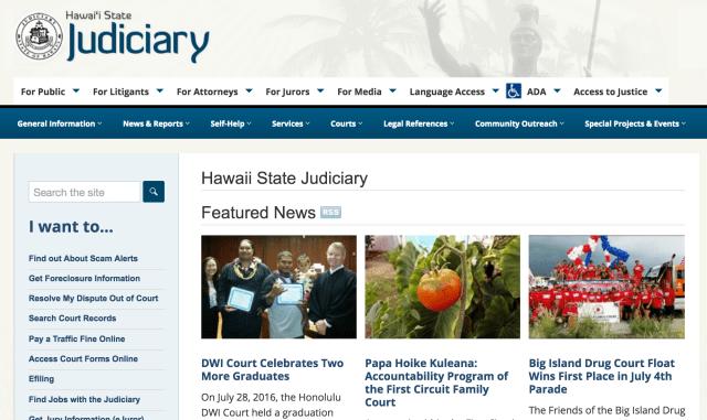 screen shot Hawaii State Judiciary website