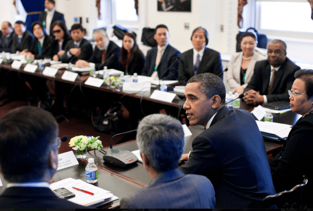 President Obama meting with Asian American and Pacific Islander leaders.