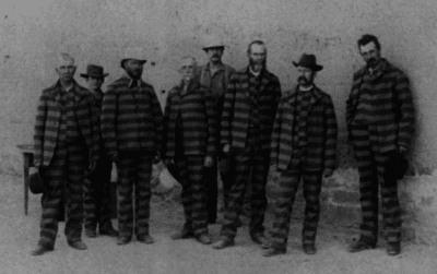 Halawa's prisoner uniforms are based on clothing from the 1800s, like these striped uniforms on Utah prisoners from 1885.