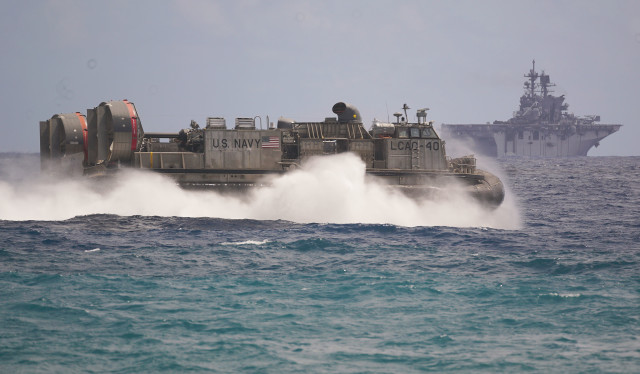 US Marines Landing Craft Air Cushion hovercraft RIMPAC offshore Marine Corps Base Hawaii. 30 july 2016