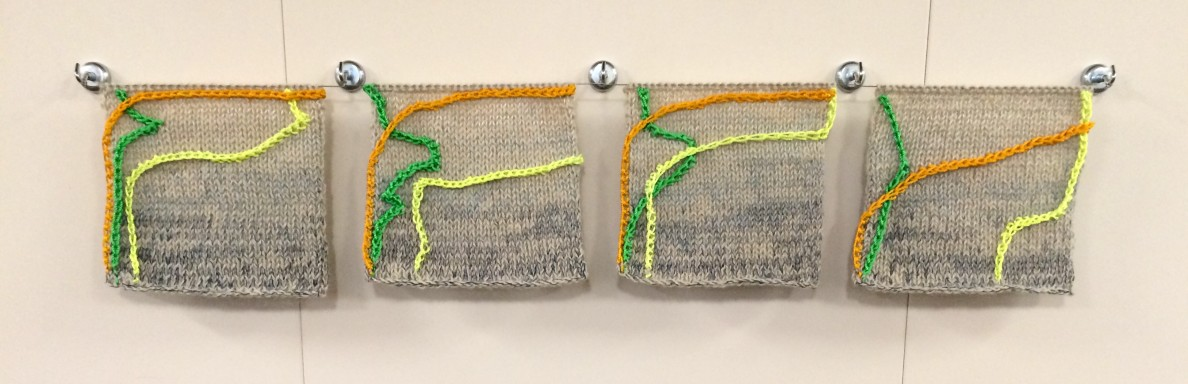 A series of data textiles by Michelle Schwengel-Ragala representing information obtained from sampling stations on the voyage from Honolulu to Tahiti.