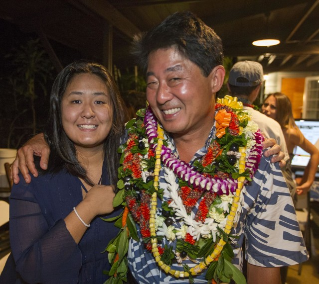 Hawaii State House of Representative District 23 Candidate Dale Kobayashi, right, poses for a picture with his daughter Erica Kobayashi at his campaign party Saturday, Aug. 13, 2016, in Honolulu. Photo by Eugene Tanner