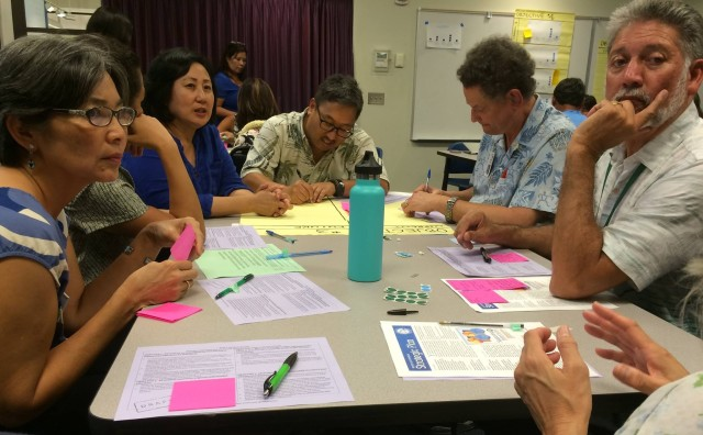 Participants in a Board of Education community meeting in Manoa.
