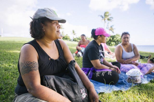 Kalihi resident, Cece and her family, enjoying their Sunday at Kaka'ako Beach Park.