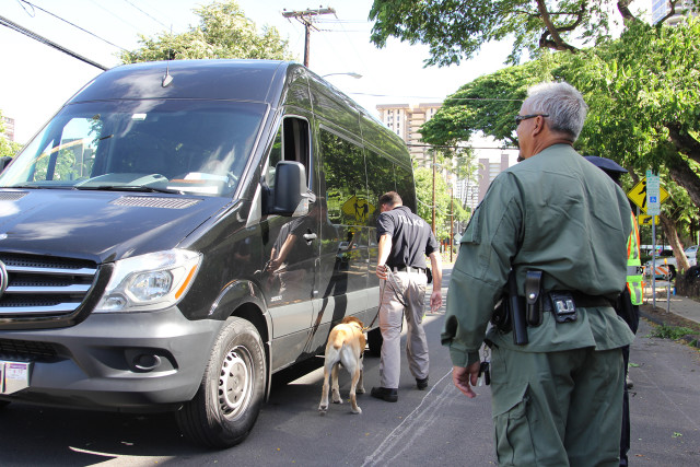 Security outside the Blaisdell Arena was heavy, especially because there was a chance leading up to the conference that President Obama would speak during the opening ceremony.