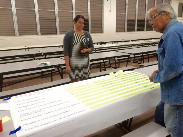 "State Rep. Romy H. Cachola provides his input at an event station. Here attendees are asked to indicate the importance of different development initiatives, like ""Ensure housing affordability"" or ""New shopping and services."""