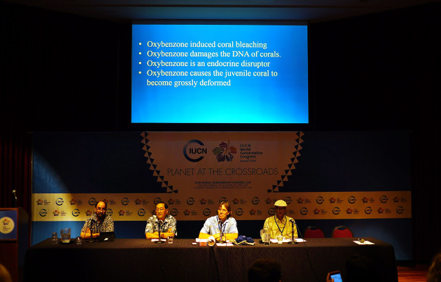 IUCN Oxybenzone presser held at the Hawaii Convention Center. 3 sept 2016