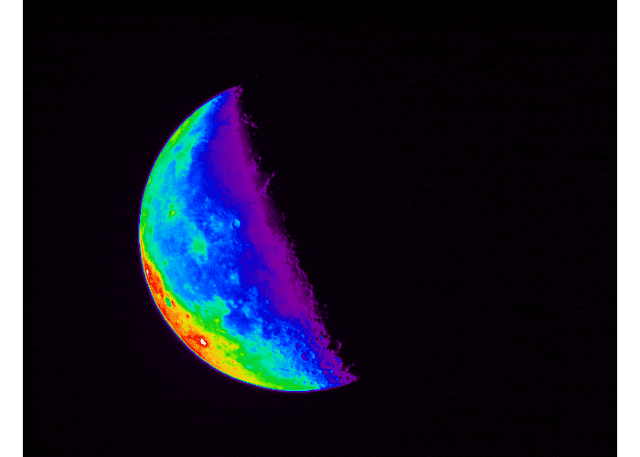 "A photo of the moon using a ""blend rainbow"" filter."