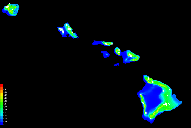 Map of current Kamehameha butterfly habitat, generated from observation data combined with environmental data like precipitation and temperature.