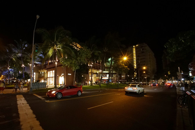 Royal Hawaiian Shopping Center Lewers with minimal LED lights a drastic difference in compared to the LED lighting at Saks 5th avenue and the location near Yardhouse bar further down Lewers Street. 26 sept 2016