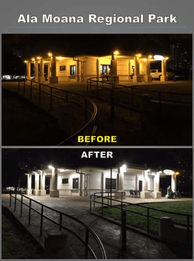 A before-and-after comparison of an LED installation by the city at Kuhio Beach Park in Waikiki.