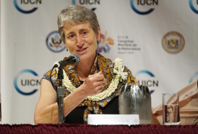 Secretary of Interior Sally Jewel Press conference IUCN opening. 1 sept 2016