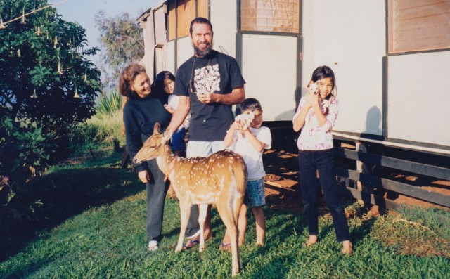 The author and his family, circa 1996, on their homestead in Molokai.