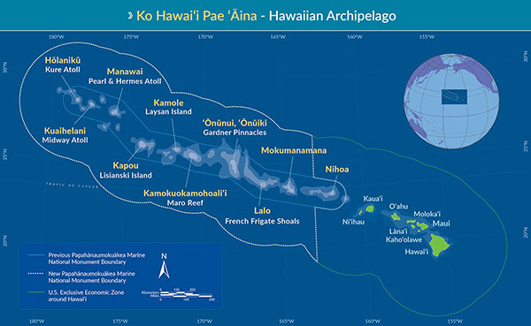 This map shows Kure Atoll, the island in the far northwestern part of the Hawaiian archipelago, and the expanded boundary of the Papahanaumokuakea Marine National Monument.
