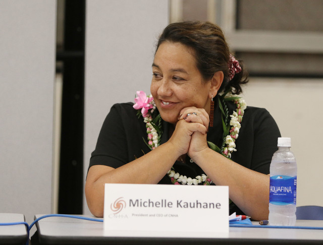 Michelle Kauhane at Farrington HS. Hawaiian forum. 10 nov 2016