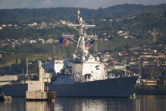 December 7 Pearl Harbor USS Halsey prepares for pass and review during 75th anniversary of the attack on Pearl Harbor, 7 dec 2016