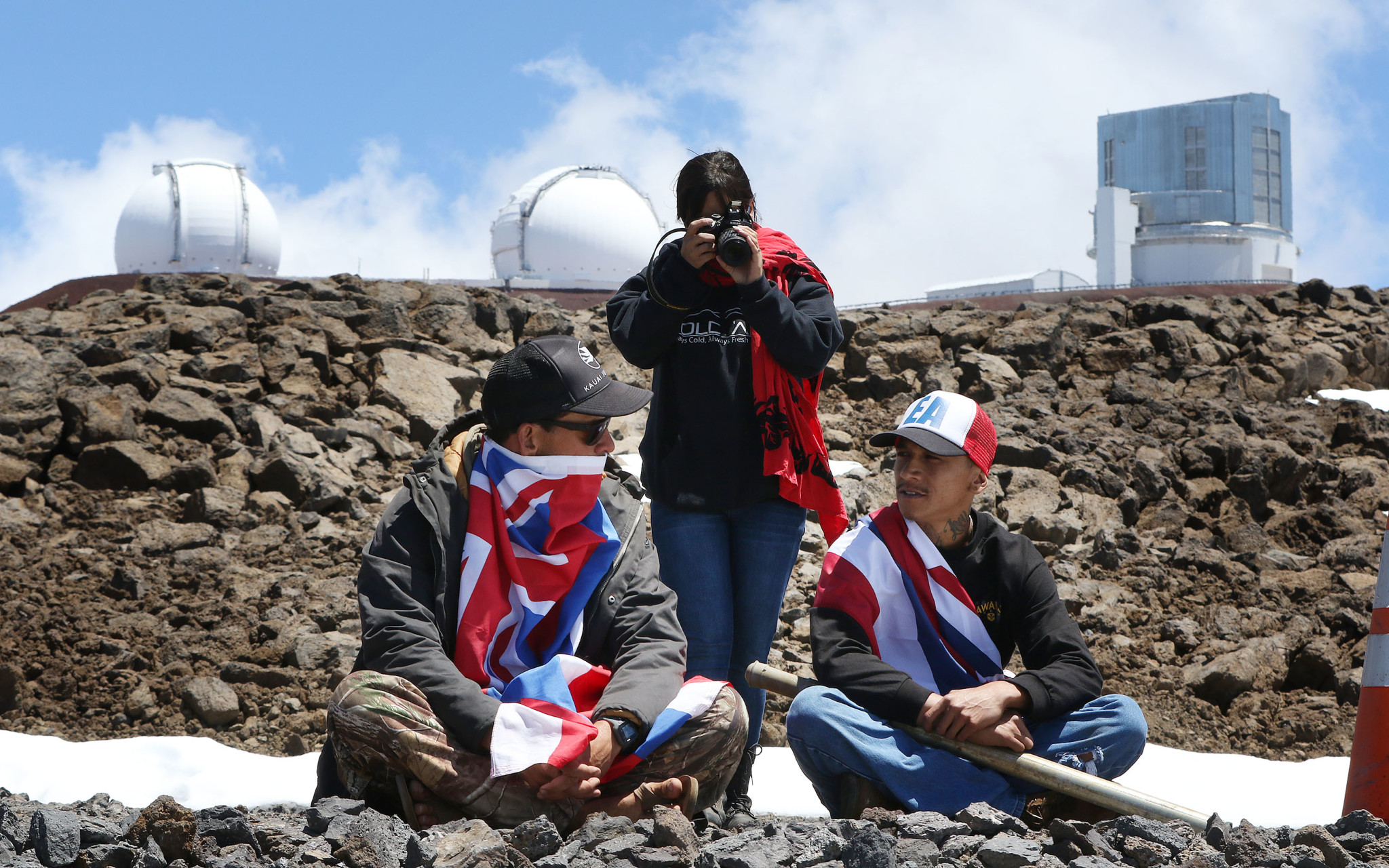 Mauna Kea demonstrators telescope Keck Subaru Hawaii . 10 apr 2015