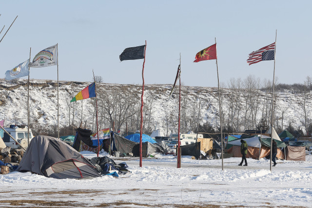 Standing Rock upside down US flag. 3 dec 2016